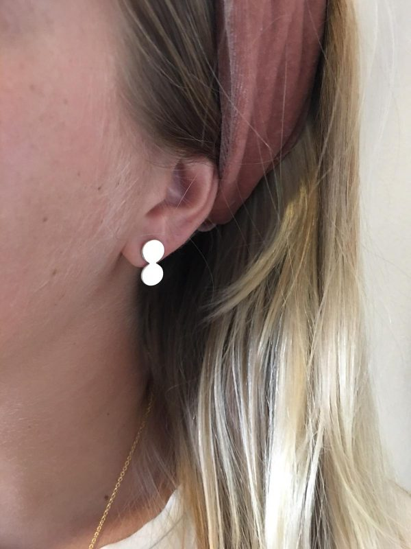 Double Moon stud - silver