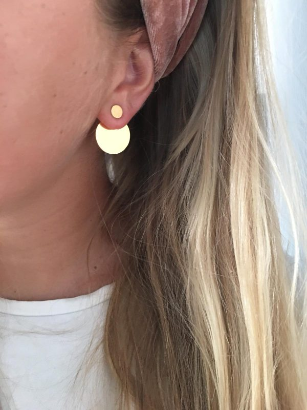 Full moon earjacket (circle) - gold