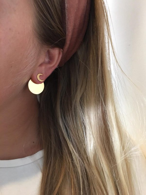 Full moon earjacket (moon) - gold