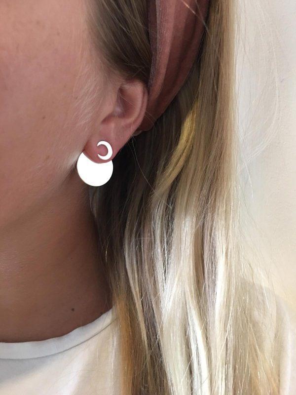 Full moon earjacket (moon) - silver
