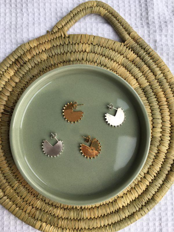 Zilveren en gold plated oorbellen